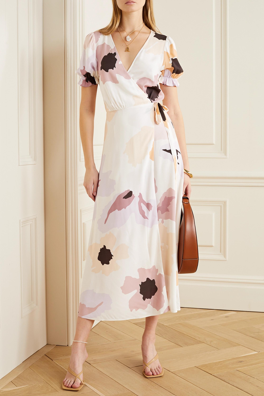 Peony Soirée floral-print woven wrap dress