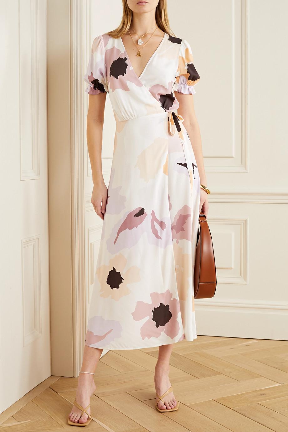 Peony Soirée 花卉印花梭织裹身连衣裙