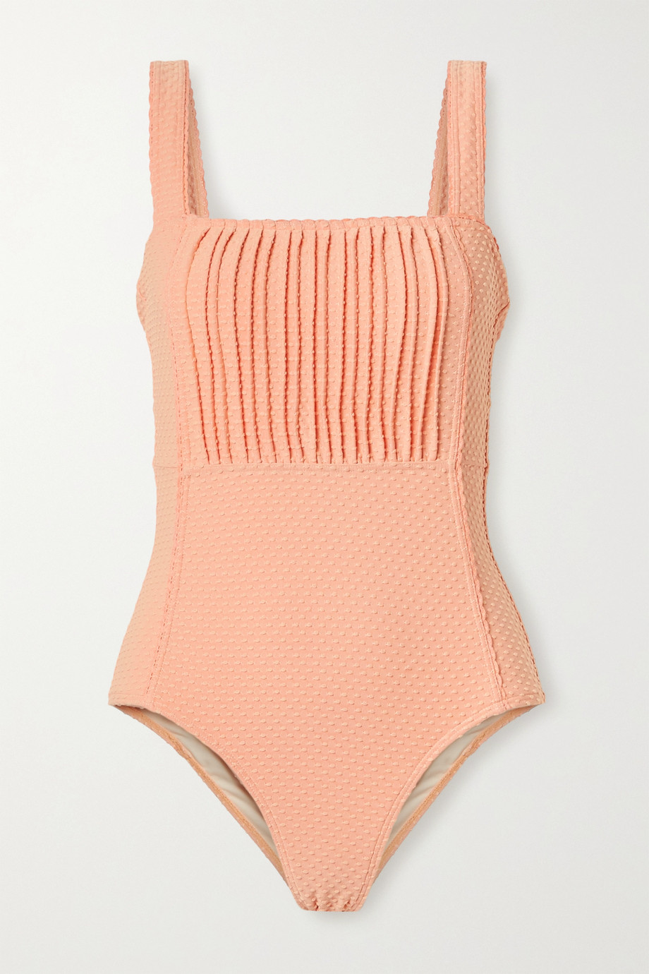 Peony Pintucked Swiss-dot stretch swimsuit