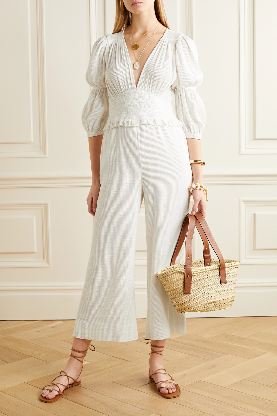 Peony Magnolia Vacation cropped shirred organic cotton and hemp-blend jumpsuit