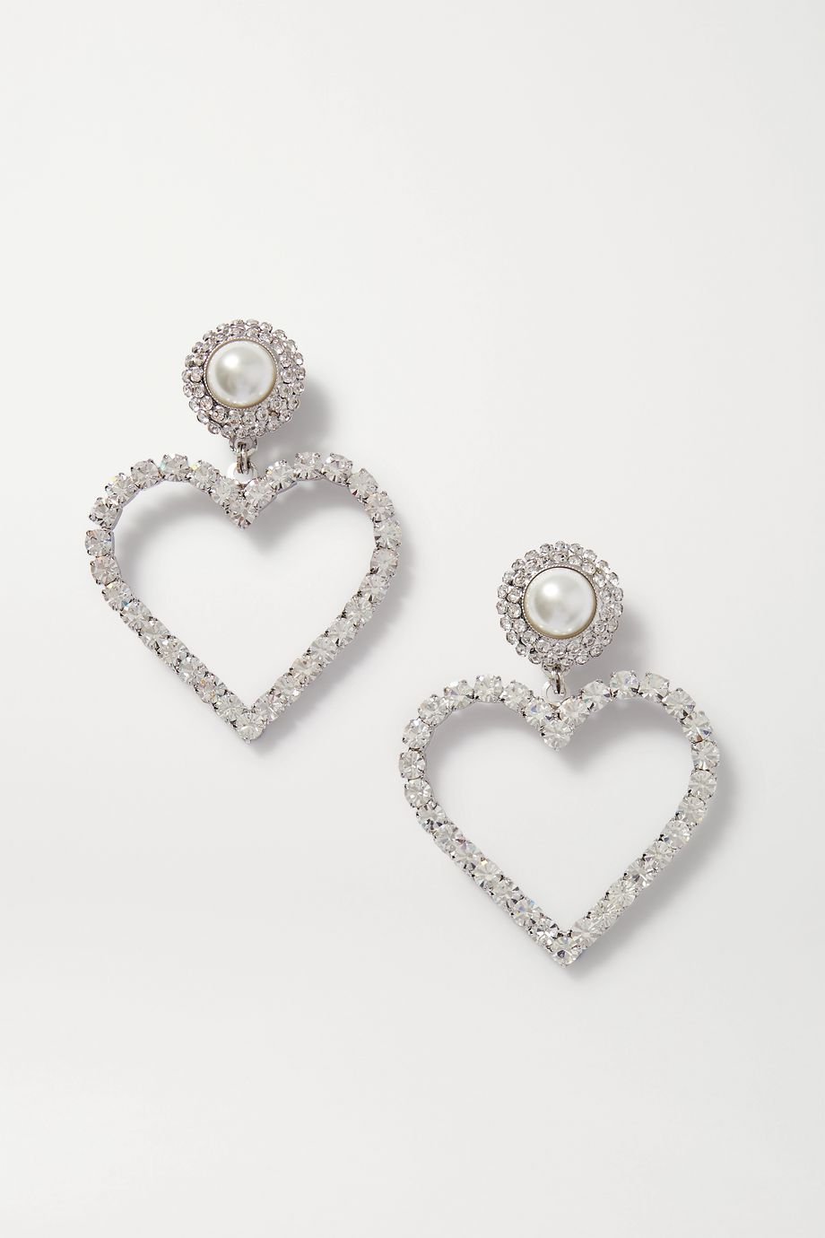 Alessandra Rich Silver-tone, faux pearl and crystal clip earrings