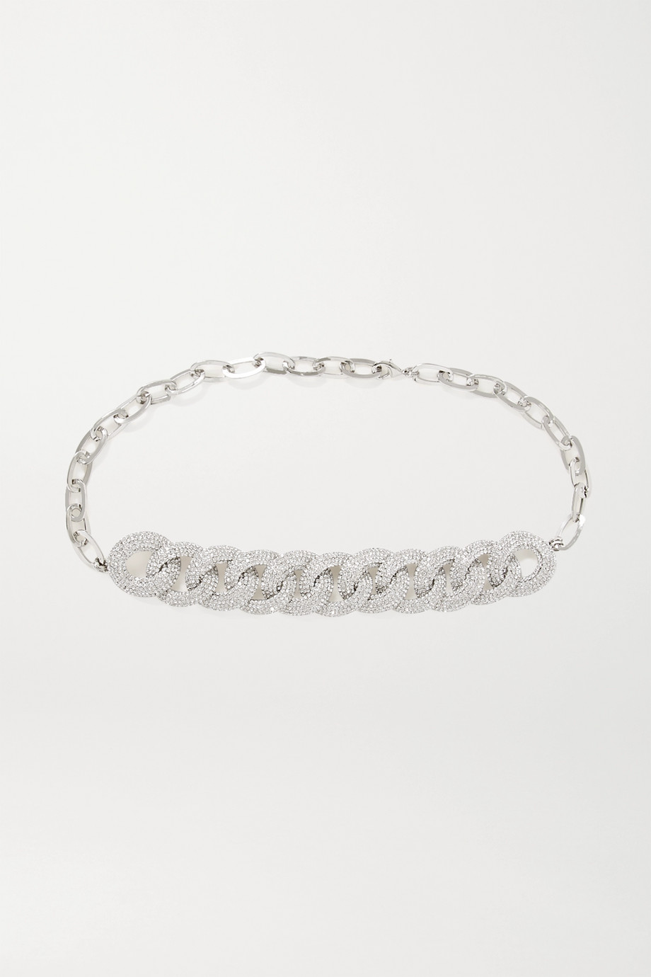 Alessandra Rich Silver-tone crystal belt