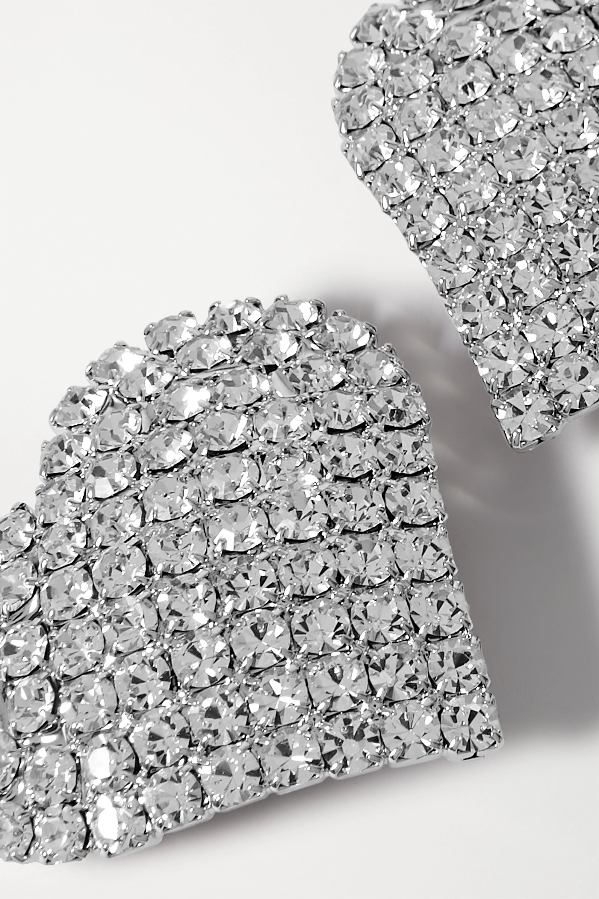 Alessandra Rich Silver-tone crystal clip earrings