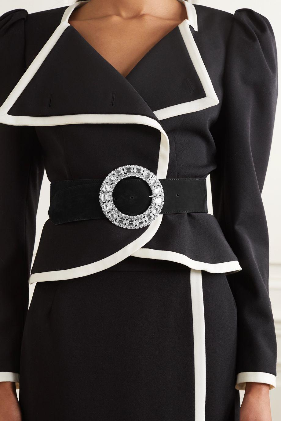 Alessandra Rich Crystal-embellished suede belt