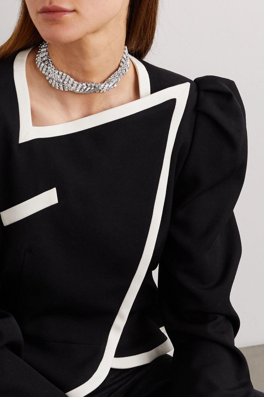 Alessandra Rich Rhodium-plated crystal choker