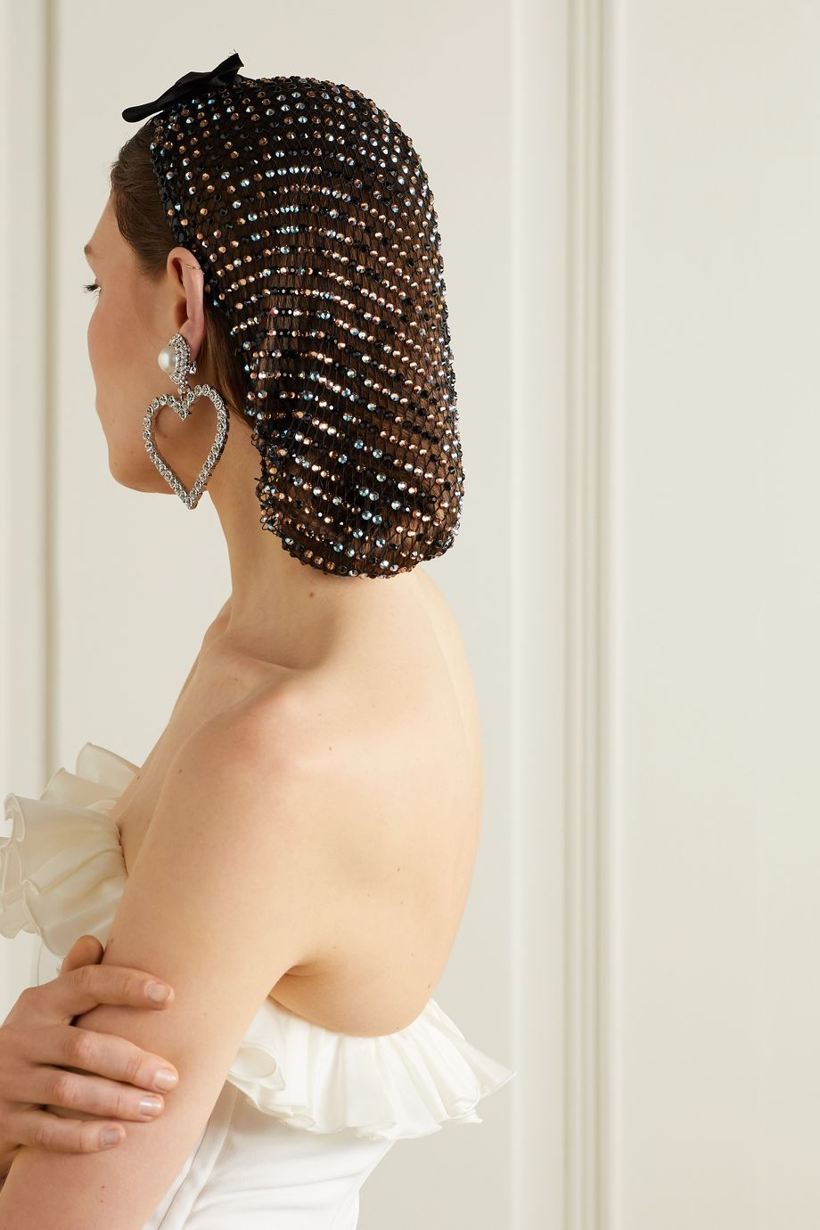 Alessandra Rich Bow-detailed crystal-embellished tulle veil