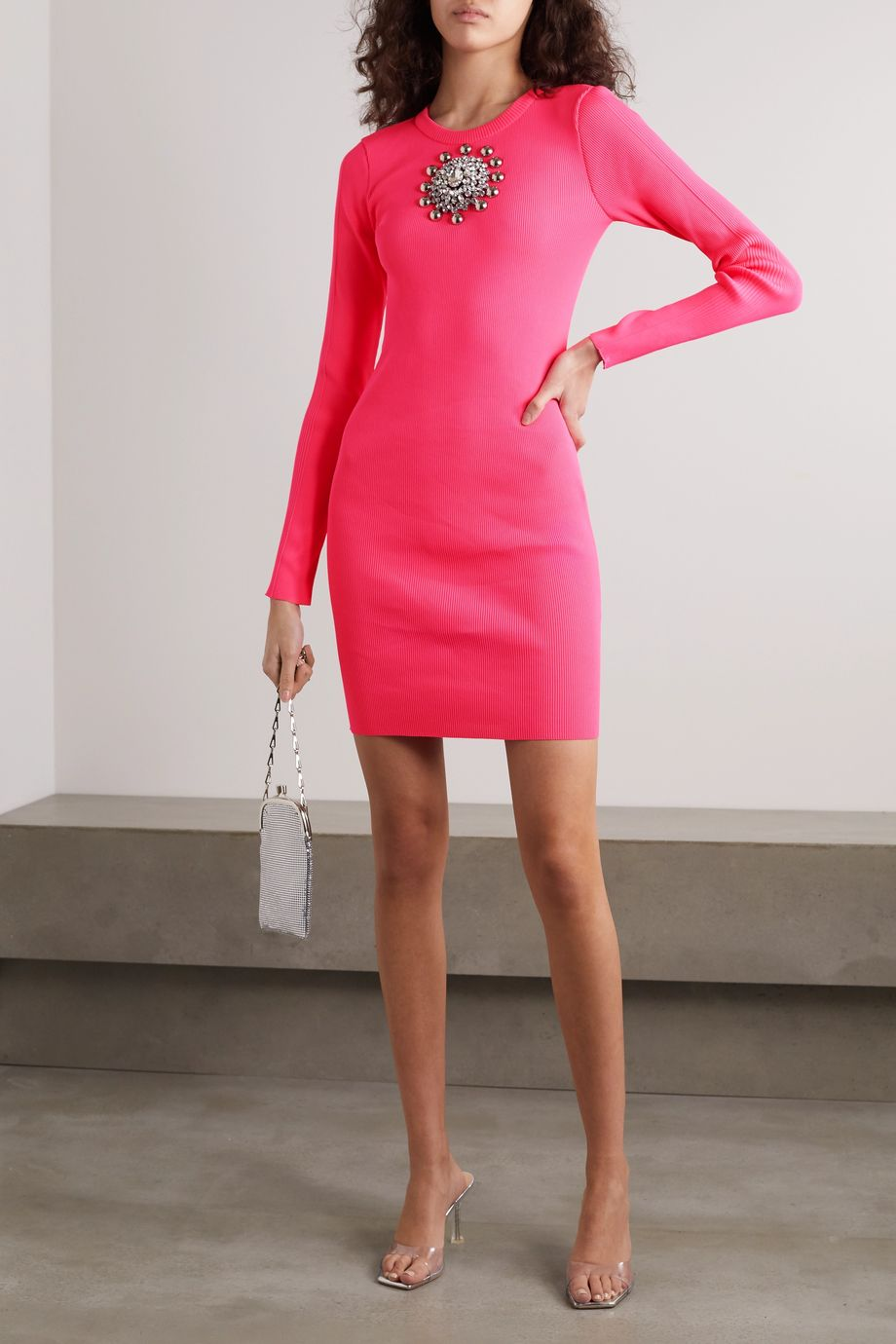 Christopher Kane Embellished ribbed-knit mini dress