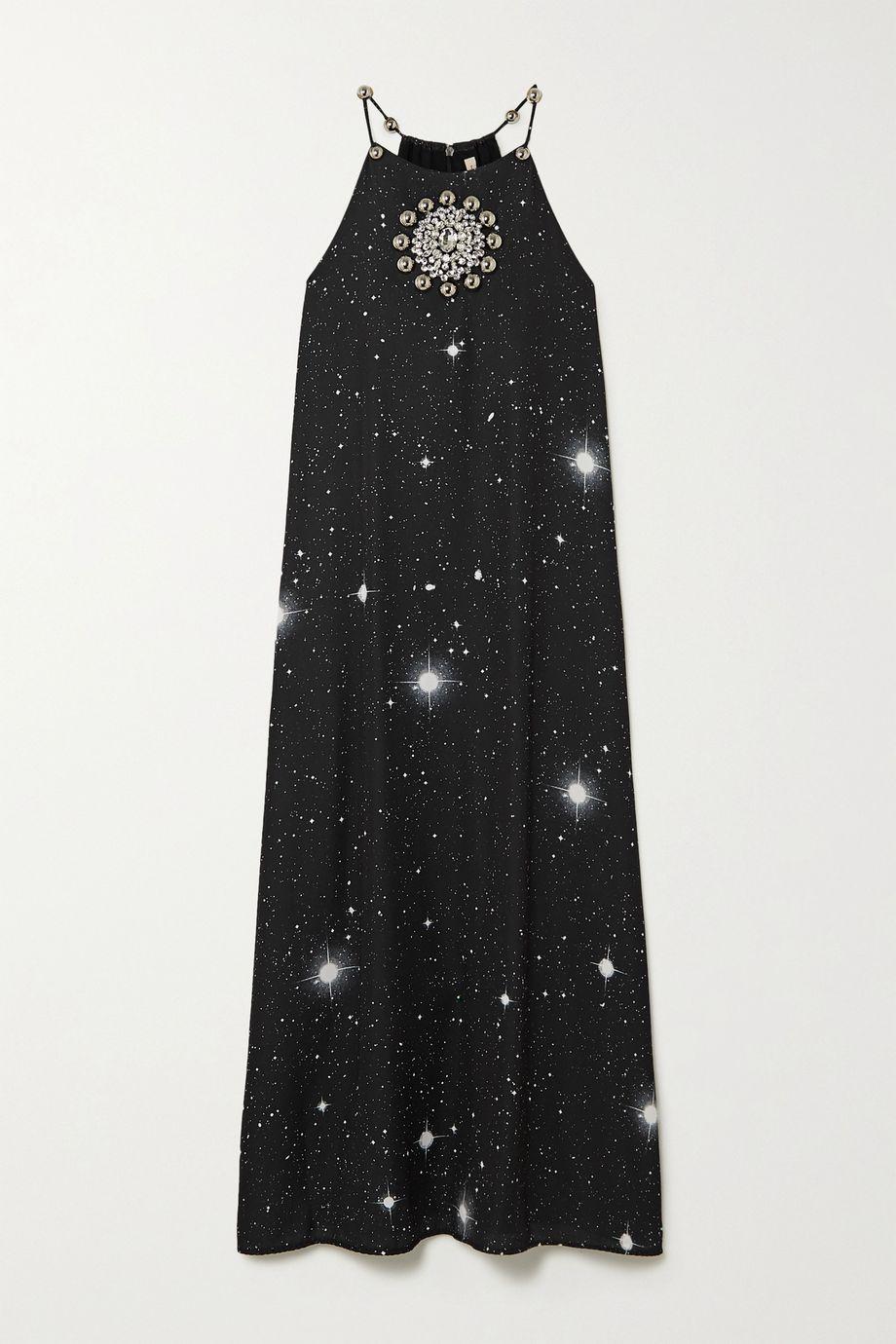 Christopher Kane Embellished printed crepe midi dress