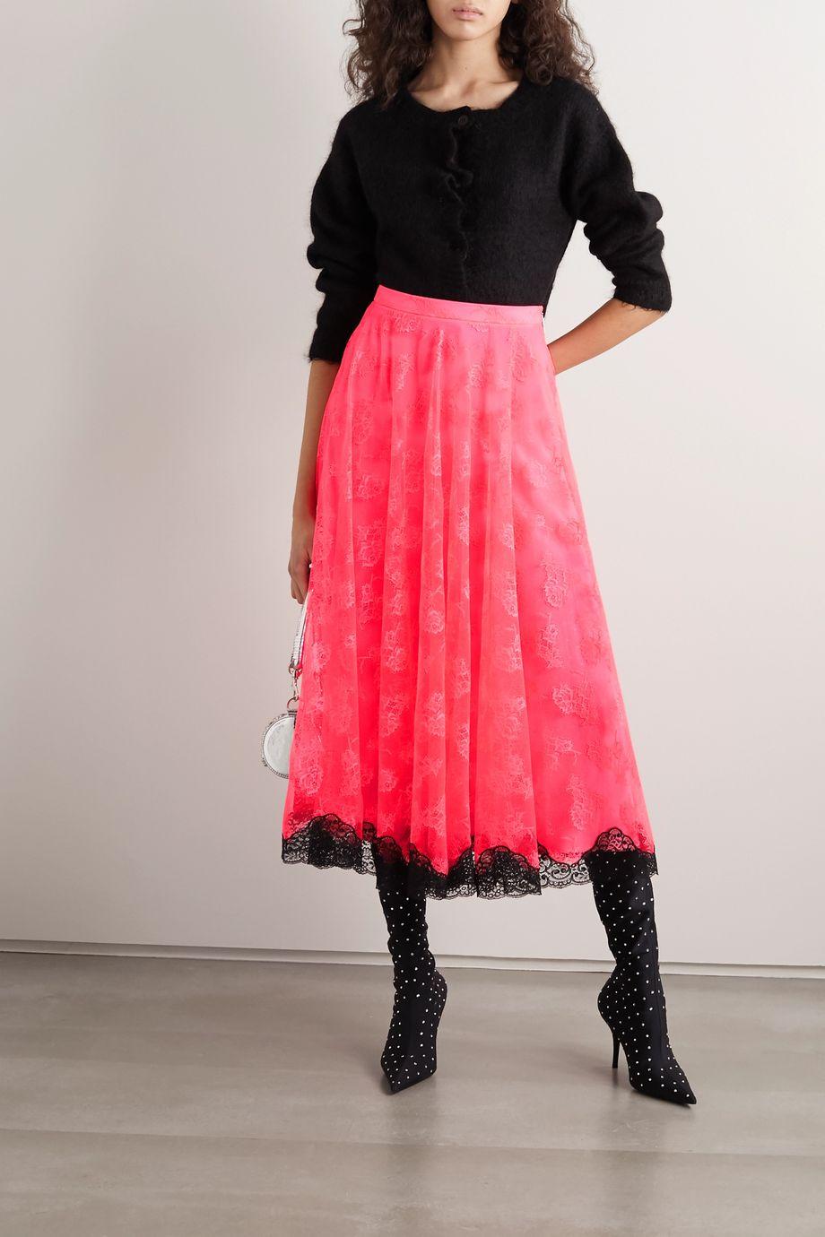 Christopher Kane Two-tone lace midi skirt