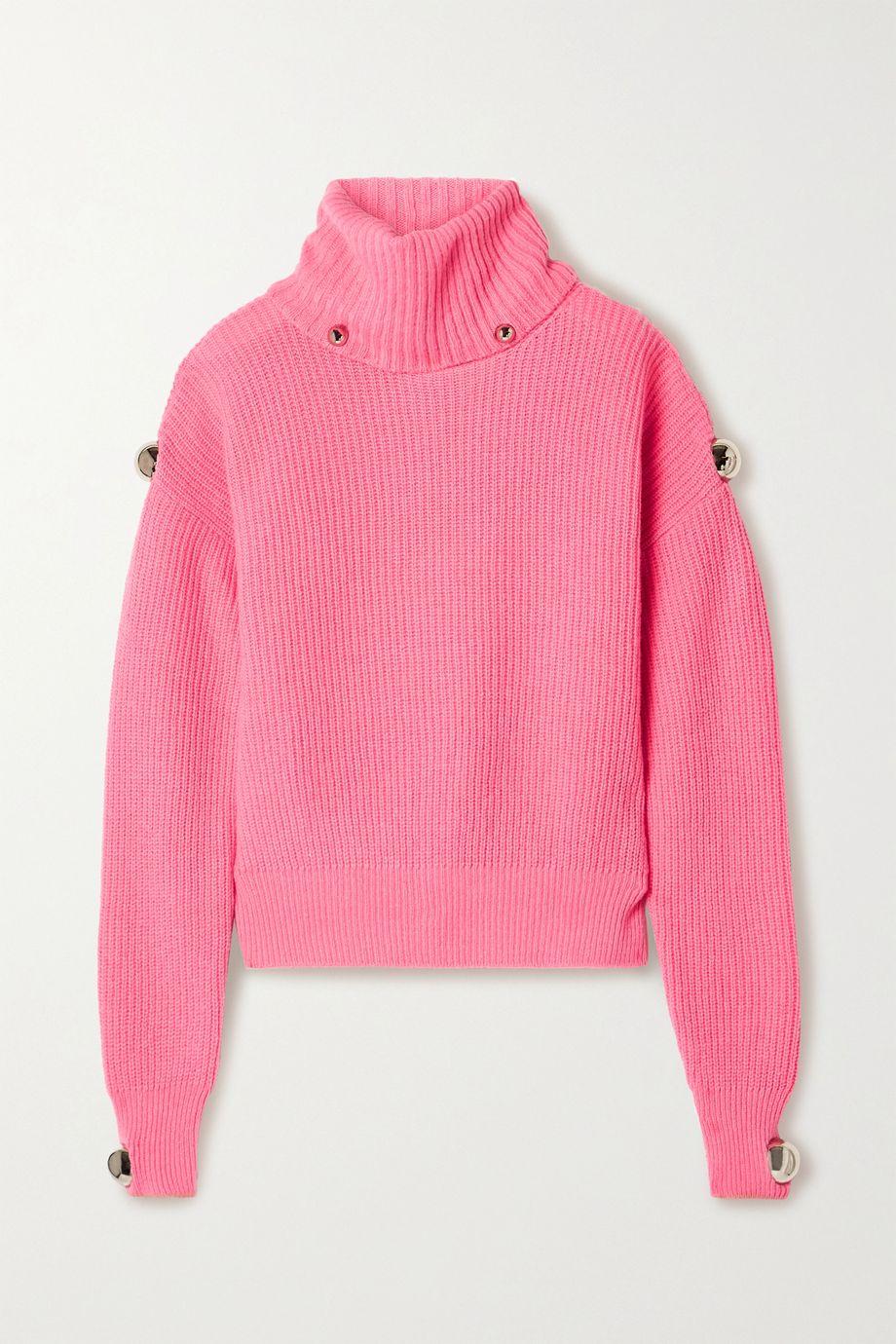 Christopher Kane Dome embellished ribbed wool turtleneck sweater