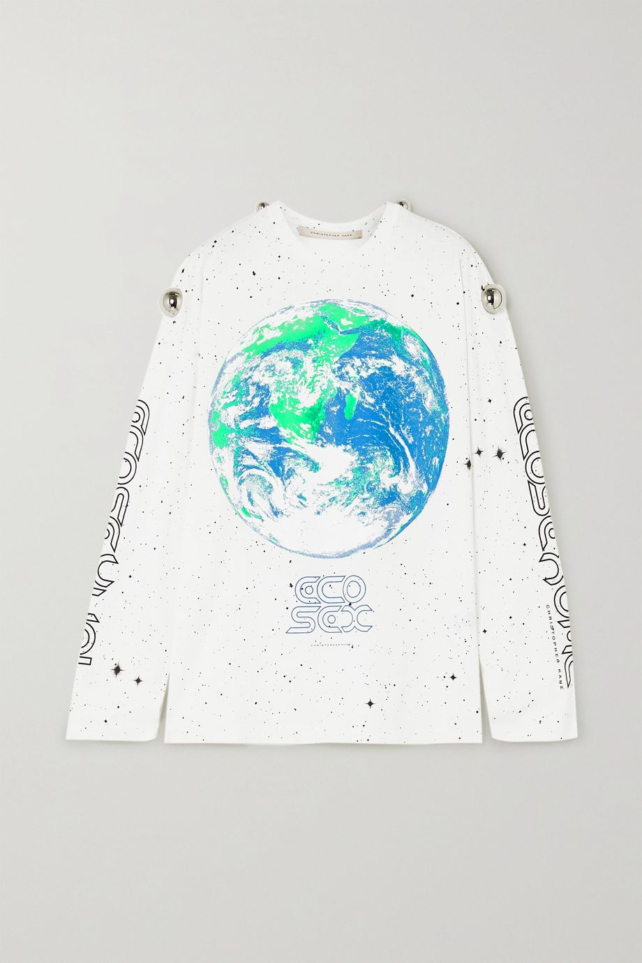 Christopher Kane Embellished printed cotton-jersey top