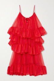 Christopher Kane Tiered ruffled silk-organza midi dress