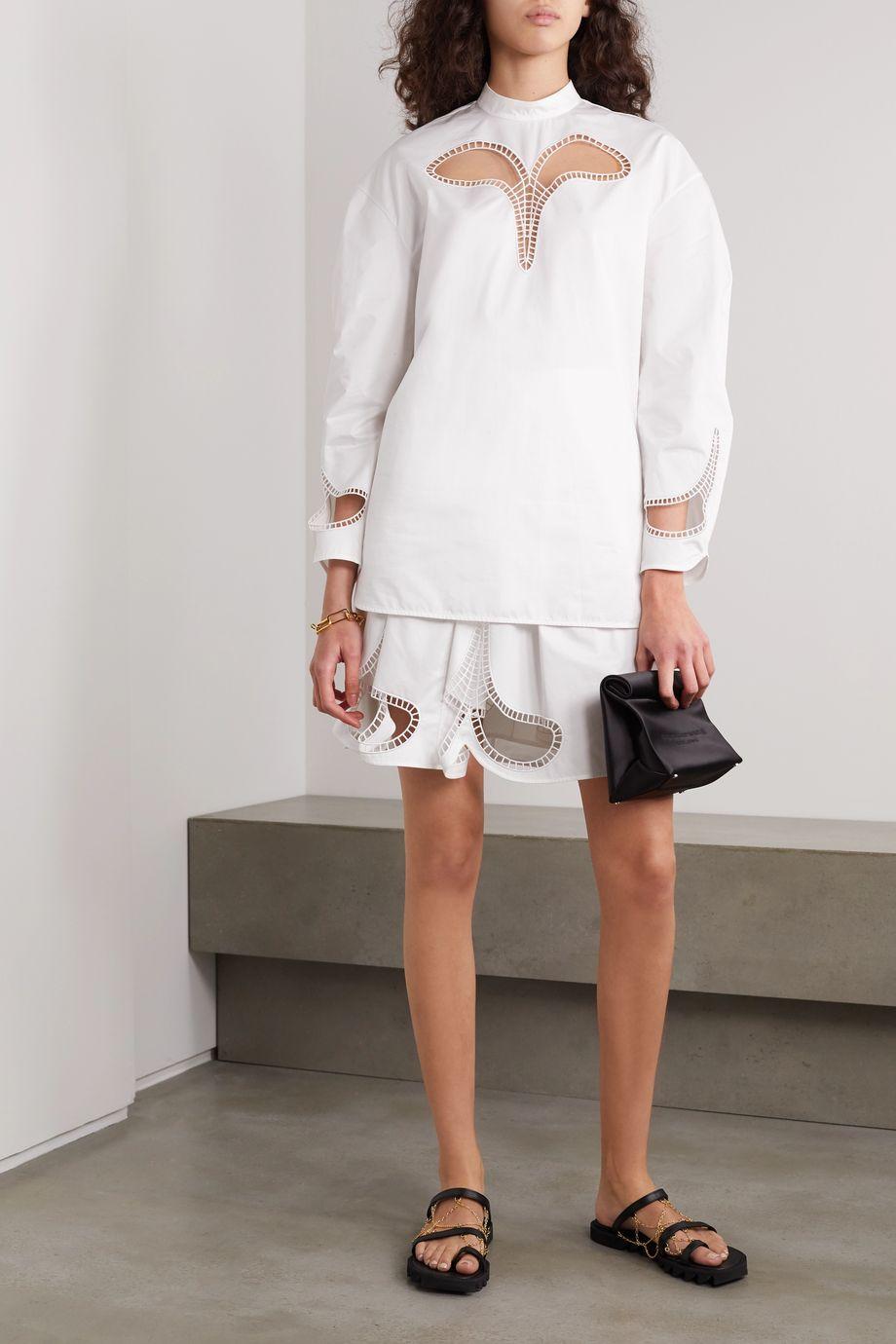 Christopher Kane Pleated broderie anglaise cotton-poplin mini skirt