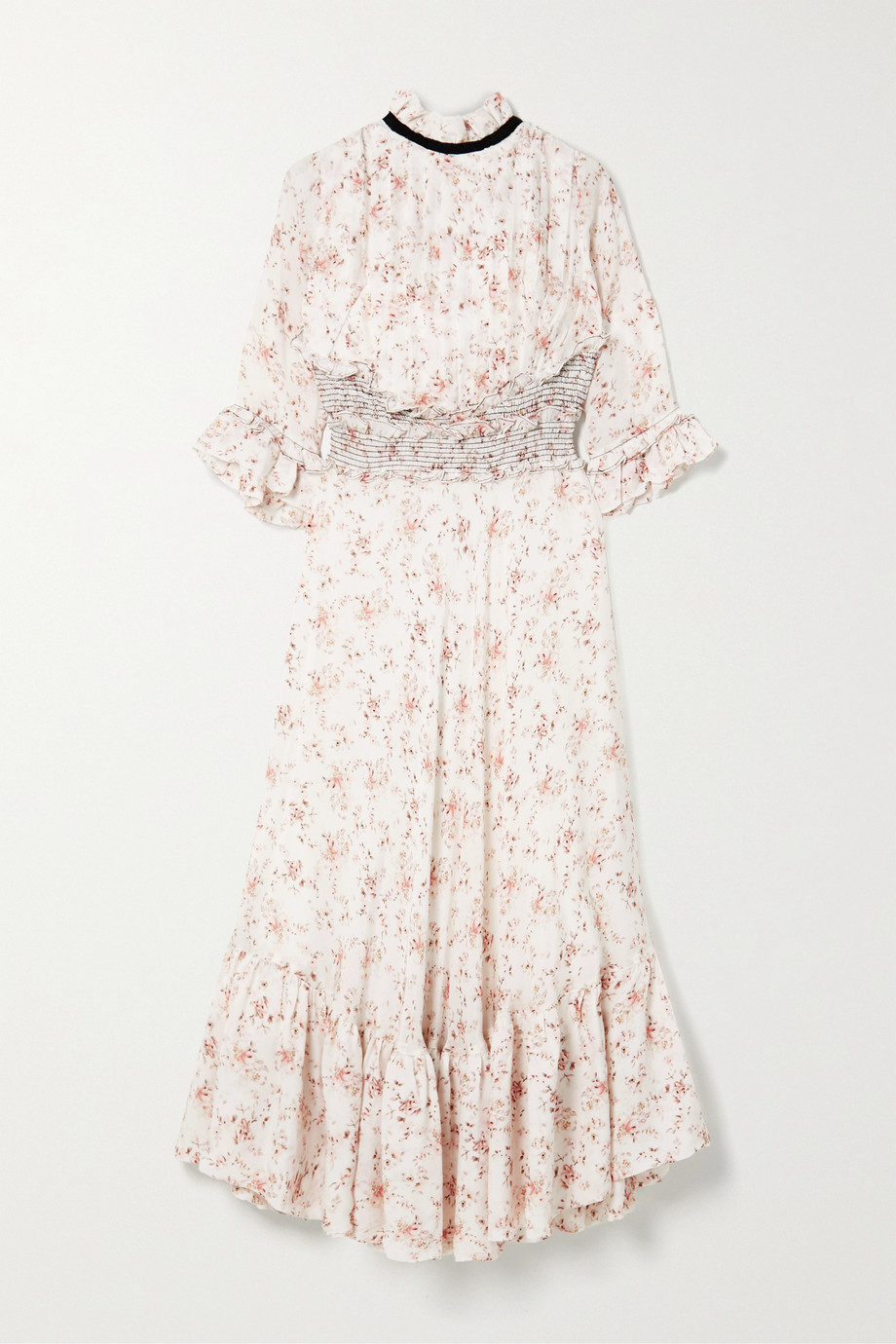 Lug Von Siga Gabriella ruffled shirred floral-print cupro midi dress