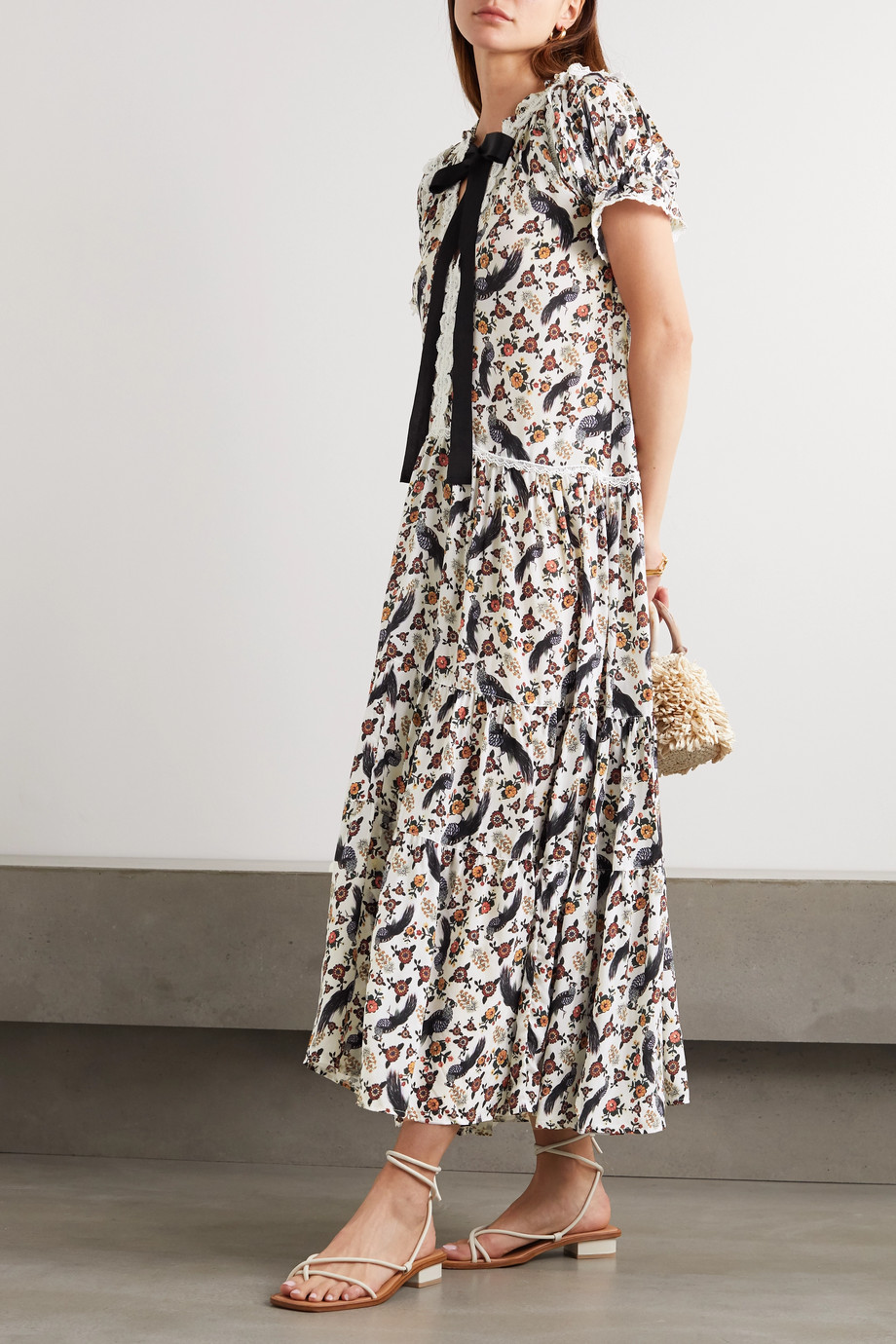 Lug Von Siga Gloria pussy-bow crochet-trimmed printed crepe maxi dress
