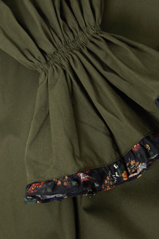 Army Green Serena Ruffle-trimmed Pleated Cotton-poplin Midi Dress   Lug Von Siga