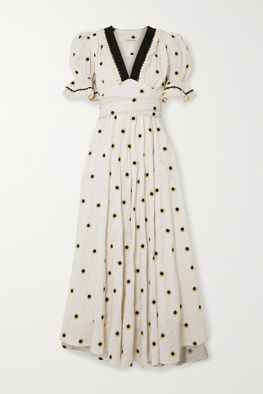 Lug Von Siga Sabrina belted embroidered metallic fil coupé cotton-blend midi dress
