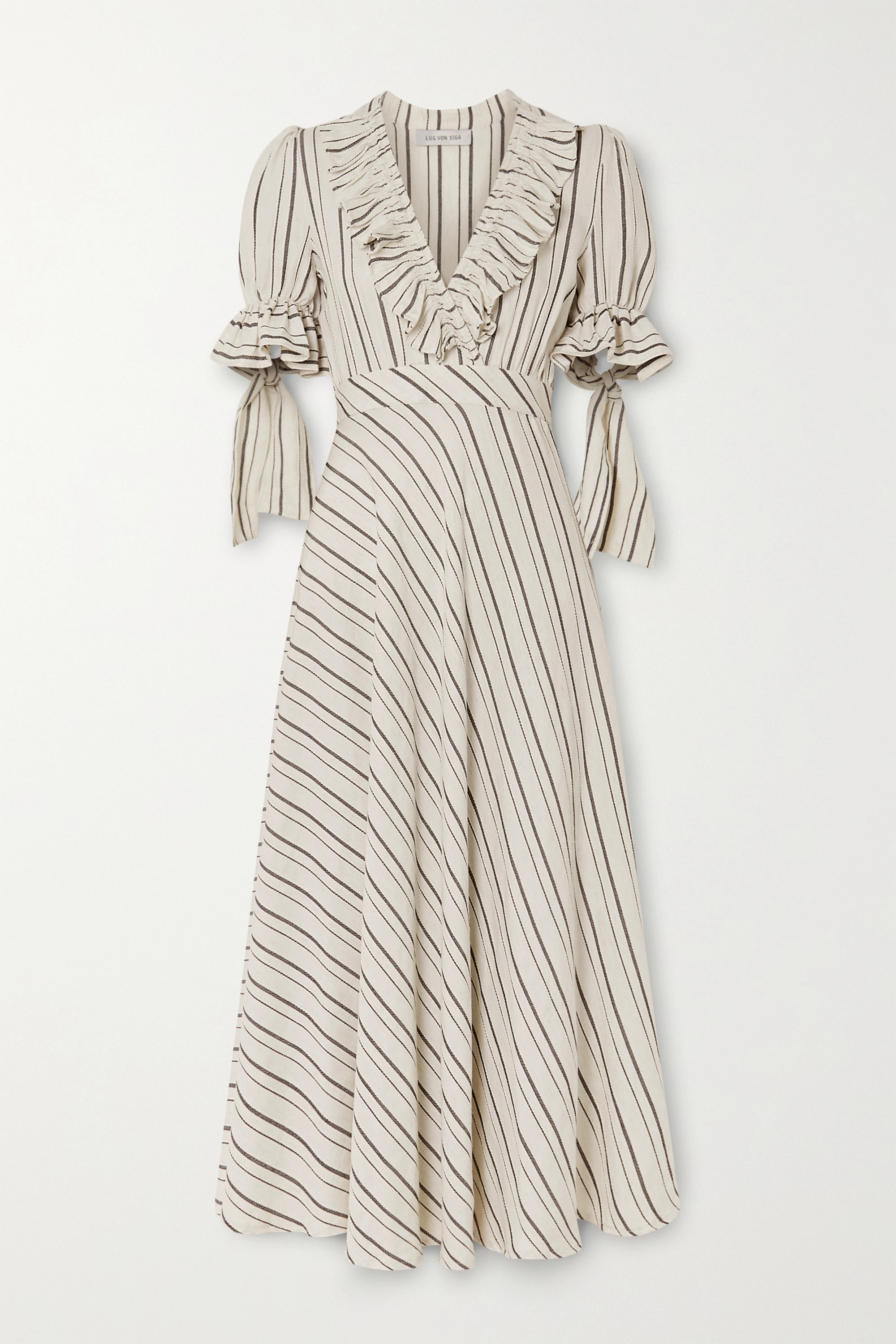 Lug Von Siga Dora ruffled striped gauze midi dress