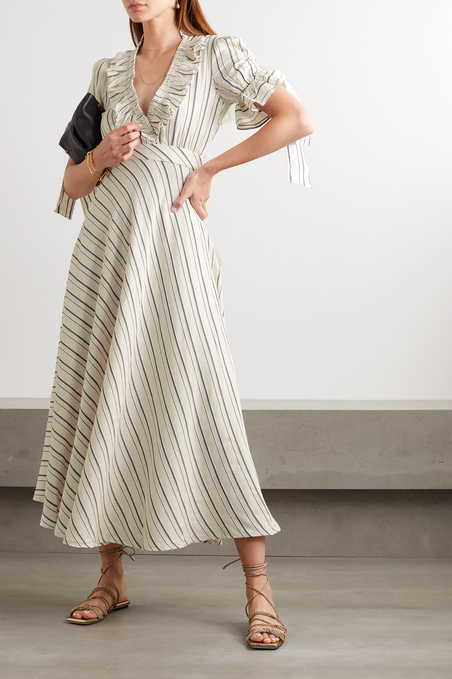Lug Von Siga Dora ruffled striped gauze midi dress