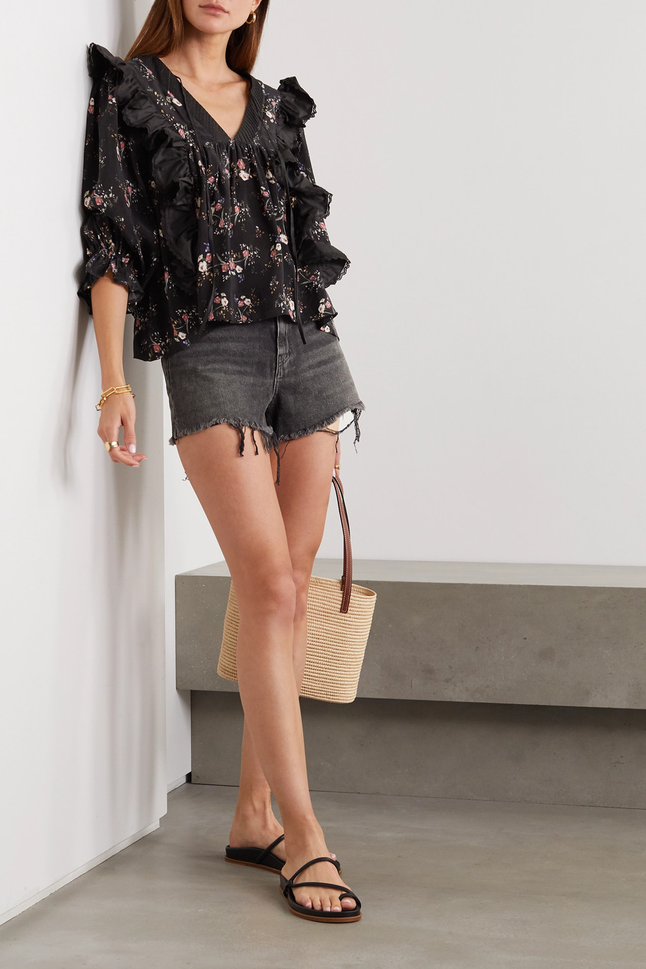 Lug Von Siga Maria ruffled satin and floral-print cupro blouse