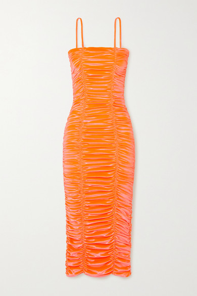 Christopher John Rogers Wiggle Ruched Stretch-velvet Midi Dress In Coral