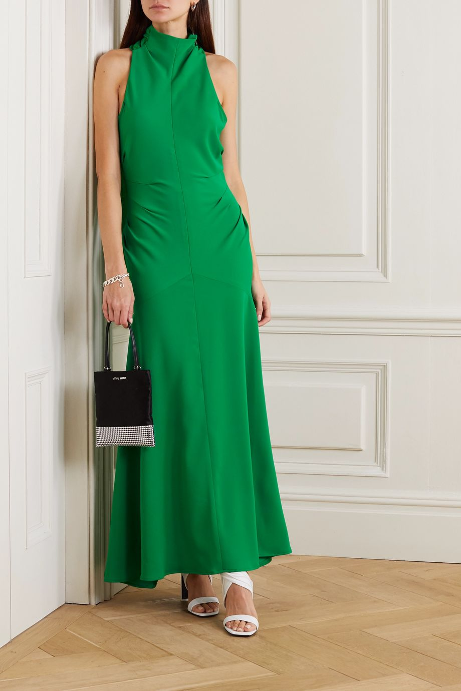 Christopher John Rogers Bow-detailed halterneck cady gown