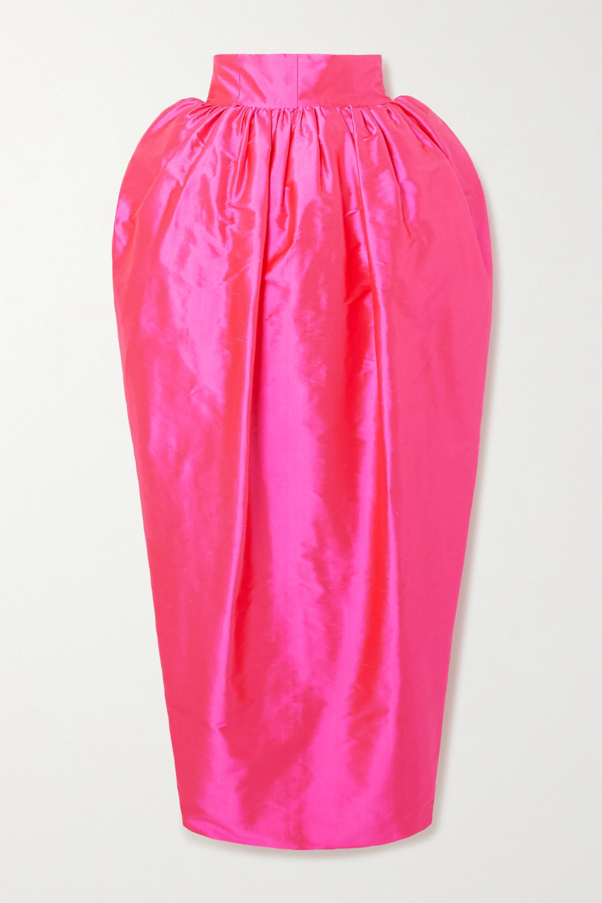 Christopher John Rogers Draped silk-taffeta midi skirt
