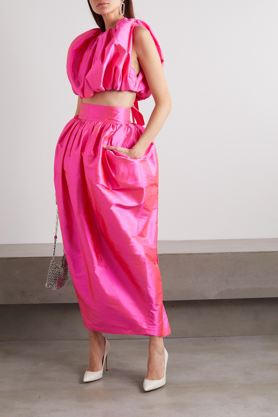 Christopher John Rogers Draped silk-taffeta midi skirt