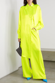 Christopher John Rogers Oversized crystal-embellished neon silk-charmeuse shirt dress