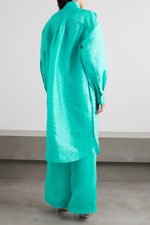 Christopher John Rogers Oversized crystal-embellished silk-charmeuse shirt dress