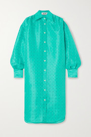 Christopher John Rogers Oversized crystal-embellished silk-charmeuse shirt dress
