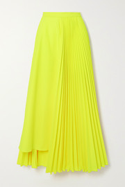 Christopher John Rogers Neon asymmetric pleated poplin skirt