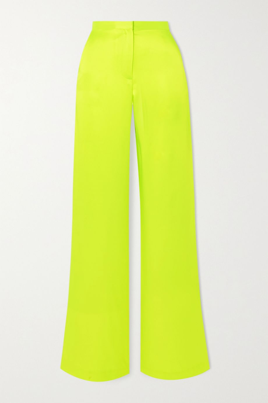 Christopher John Rogers Neon silk-charmeuse wide-leg pants