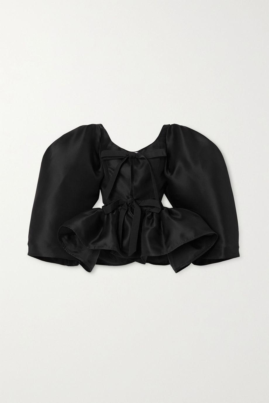Christopher John Rogers Tie-front silk-gazar peplum blouse