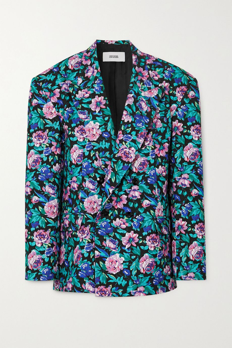 Christopher John Rogers Double-breasted floral-print cotton jacket