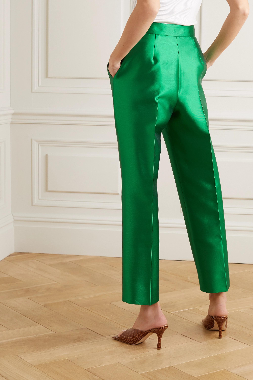 Christopher John Rogers Pleated silk and wool-blend straight-leg pants