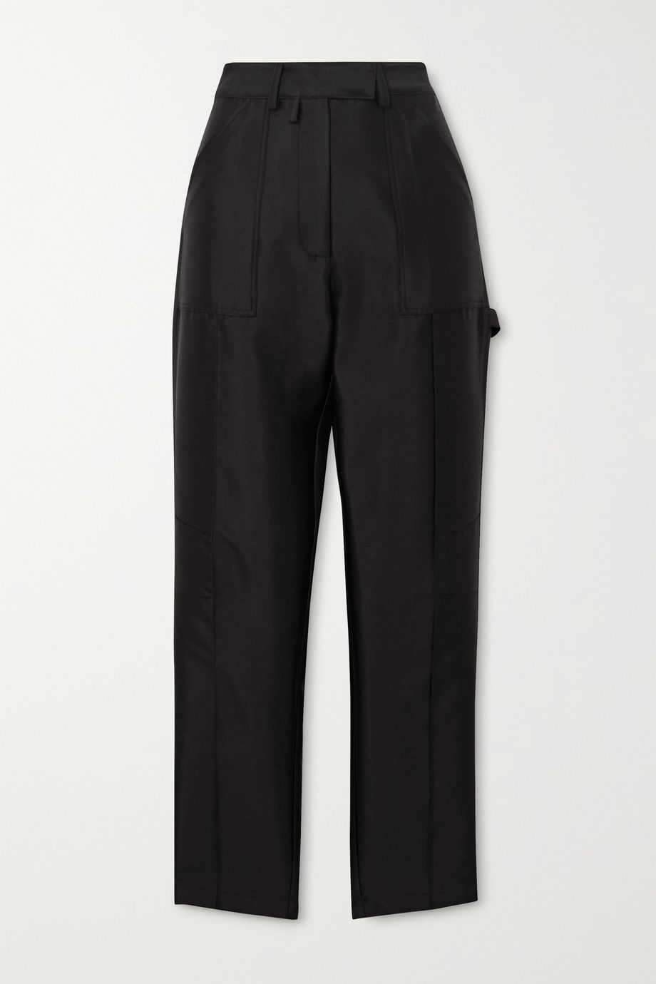Christopher John Rogers Silk and wool-blend faille straight-leg cargo pants