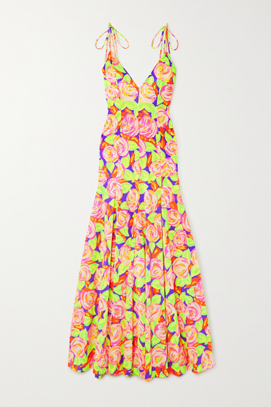 Christopher John Rogers Pleated Floral-print Stretch-satin Maxi Dress In Pink