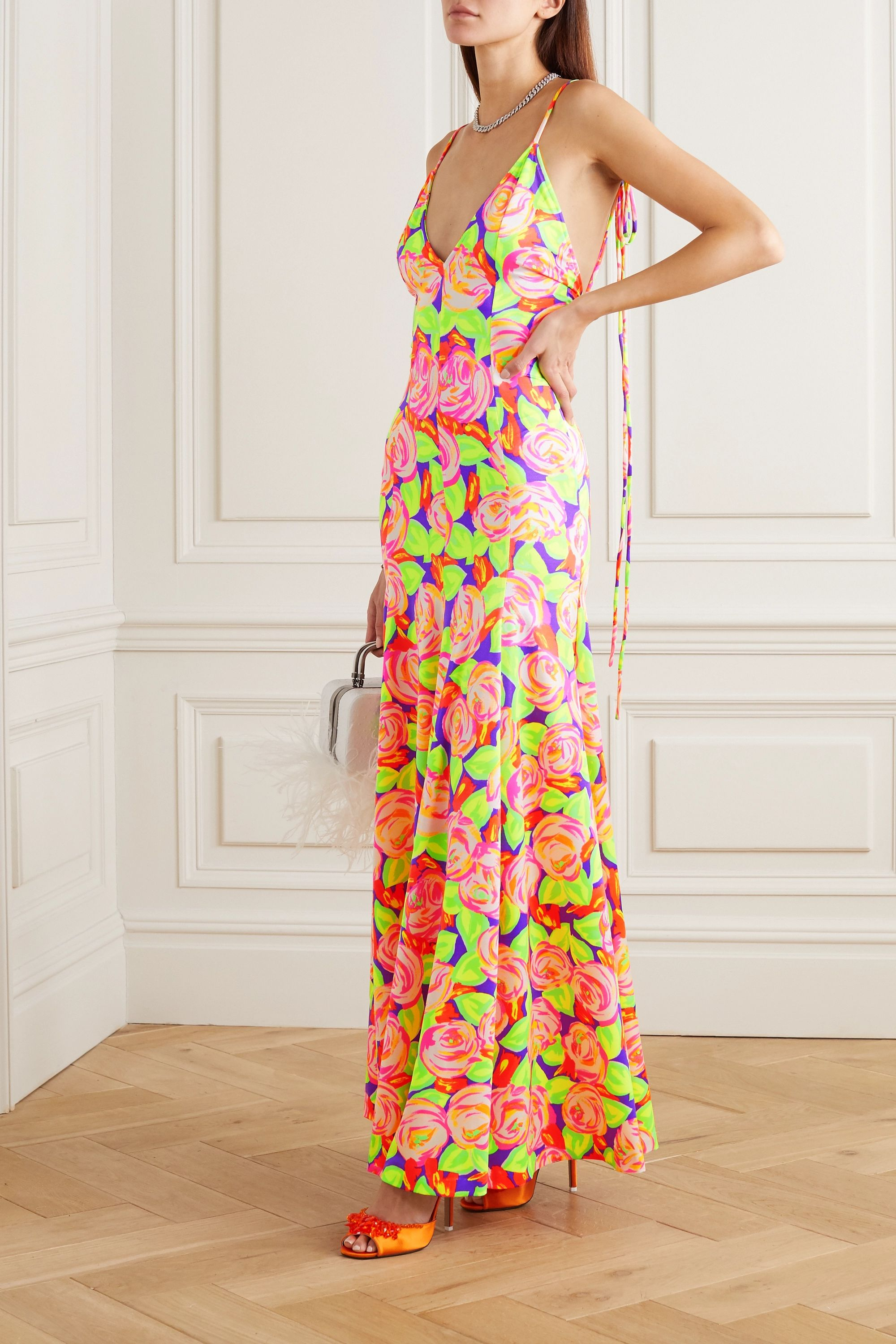 Christopher John Rogers Pleated floral-print stretch-satin maxi dress