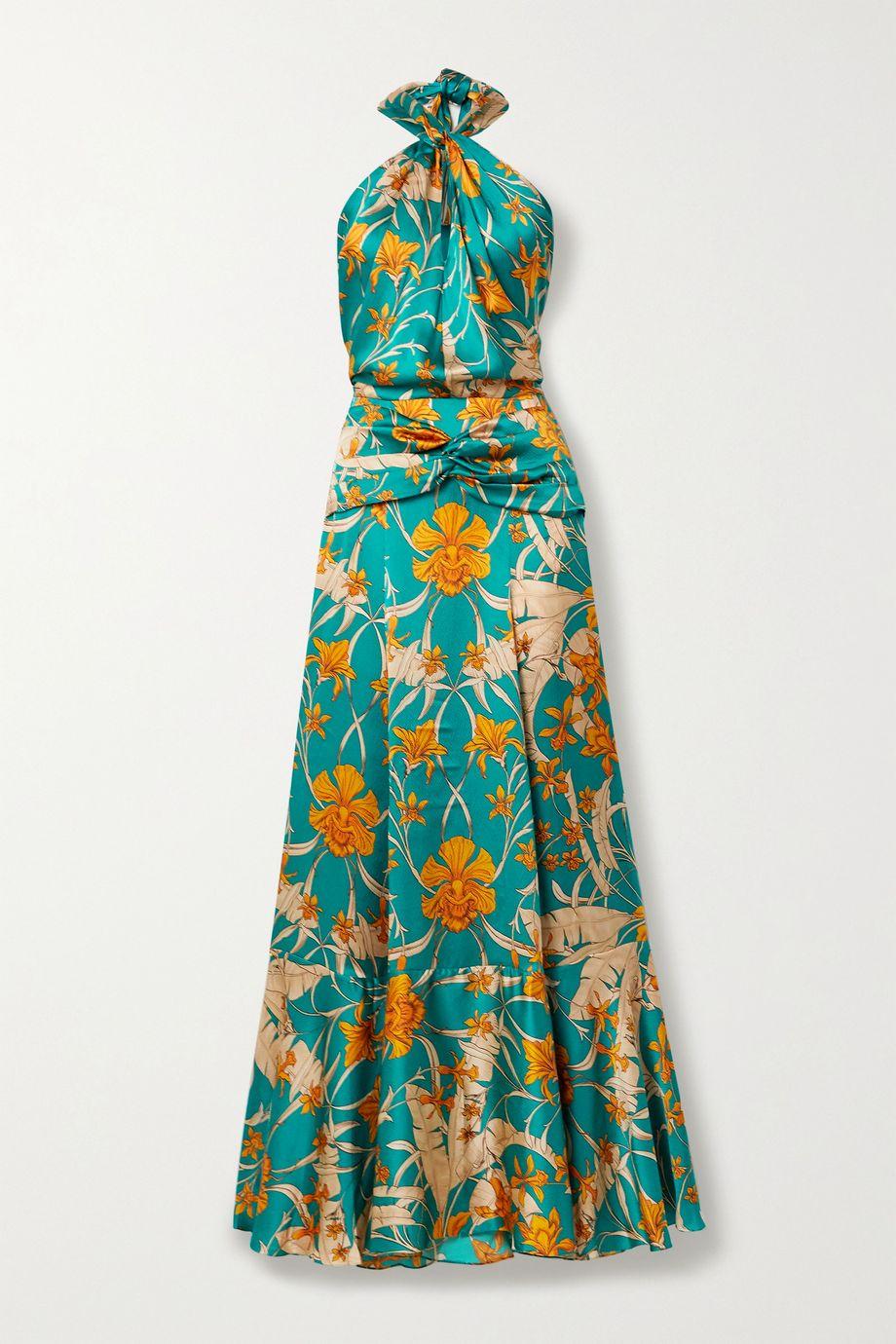 Johanna Ortiz Femme Nouvelle printed hammered silk-charmeause halterneck maxi dress
