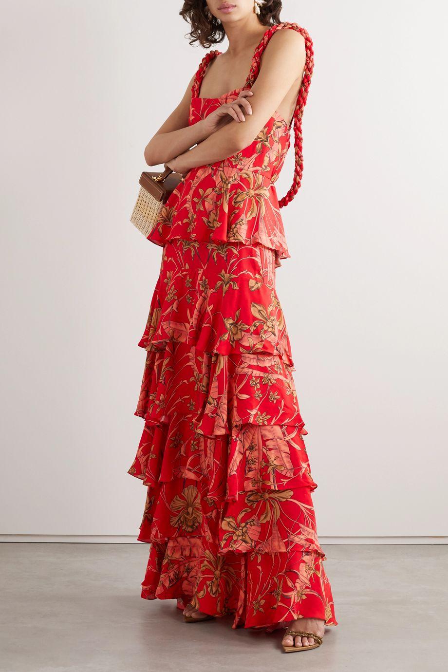 Johanna Ortiz Life Goals tiered printed crepe maxi dress