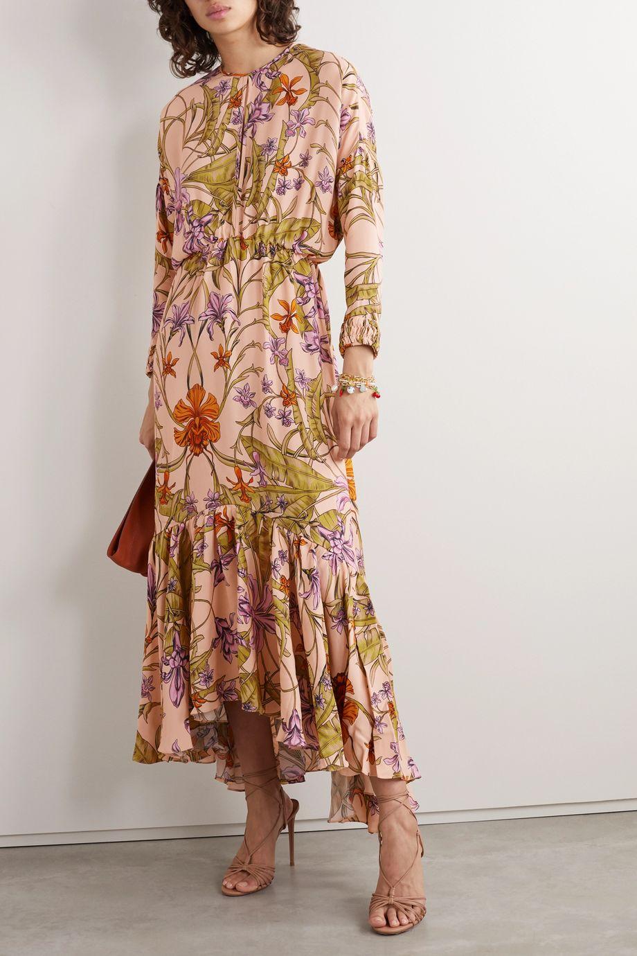 Johanna Ortiz Chosen Elements tiered floral-print crepe midi dress