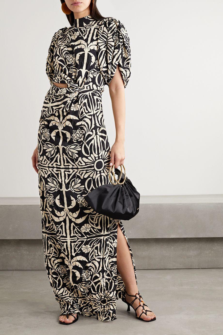 Johanna Ortiz Tropical Mola cutout printed silk crepe de chine maxi dress