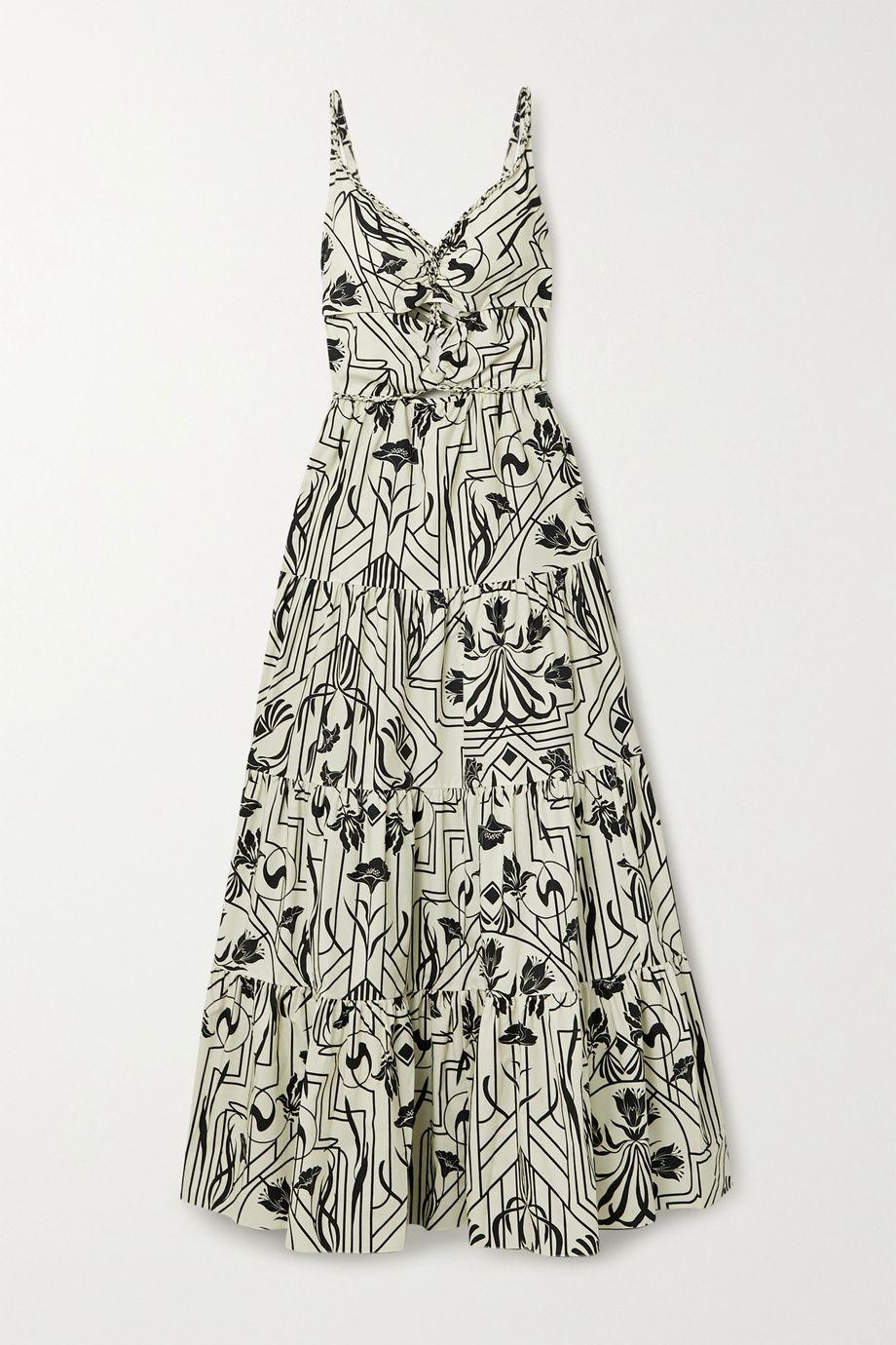 Johanna Ortiz Floral Architecture tiered cutout printed cotton-poplin maxi dress