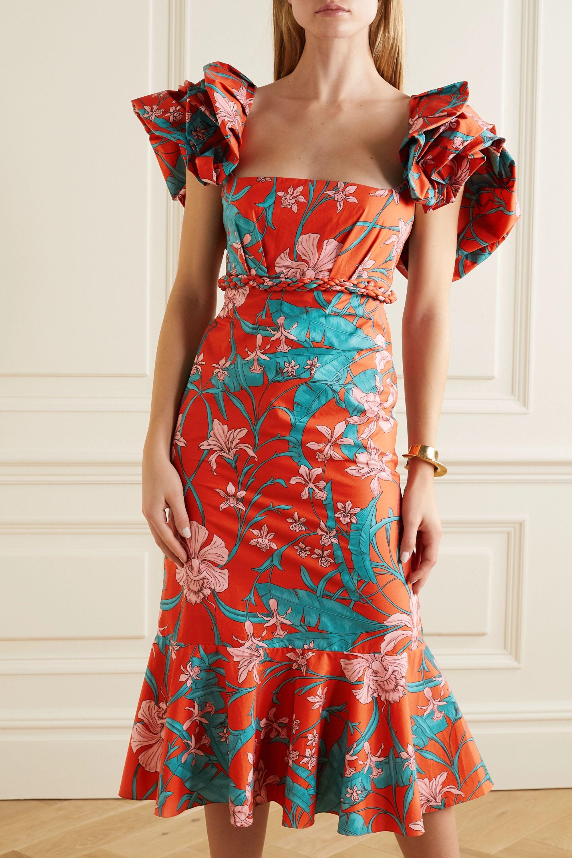 Johanna Ortiz Ruffled floral-print cotton-poplin midi dress