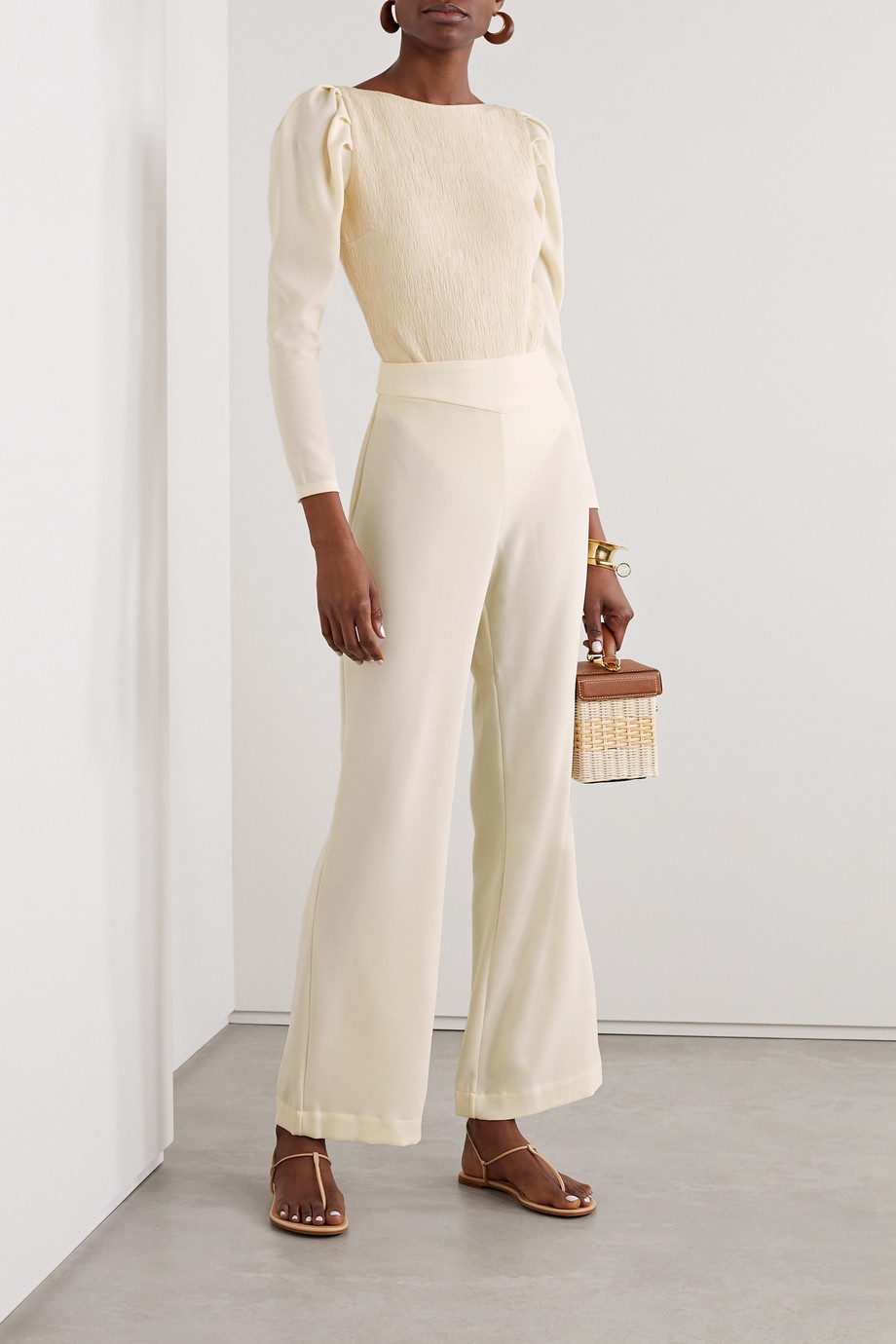 Johanna Ortiz Paintery crinkled stretch-crepe bodysuit