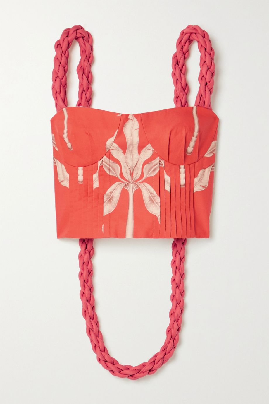 Johanna Ortiz Palmeras cropped printed cotton top