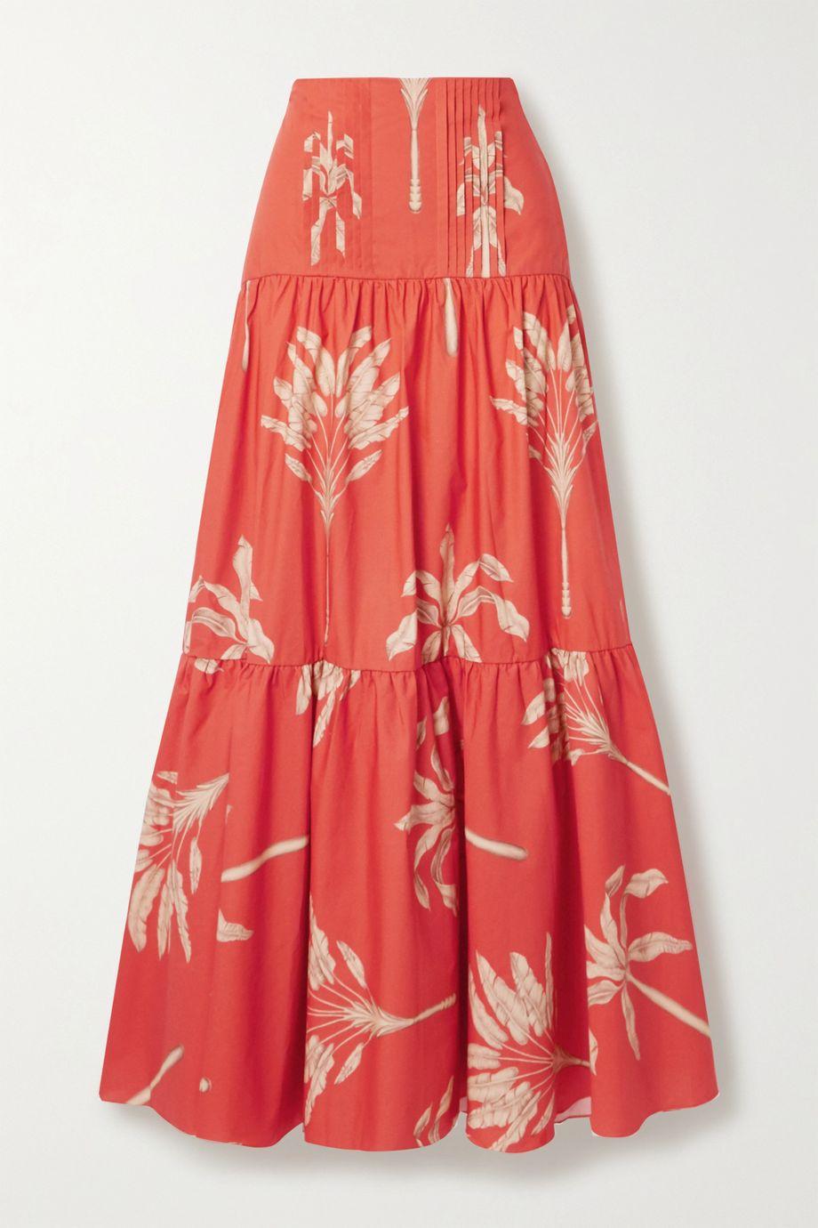 Johanna Ortiz Powerful Rhythm tiered printed cotton maxi skirt