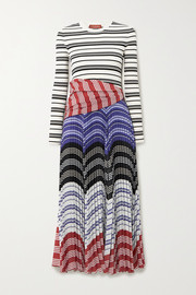 Altuzarra Woodbine striped ribbed-knit and pleated crepe de chine midi dress