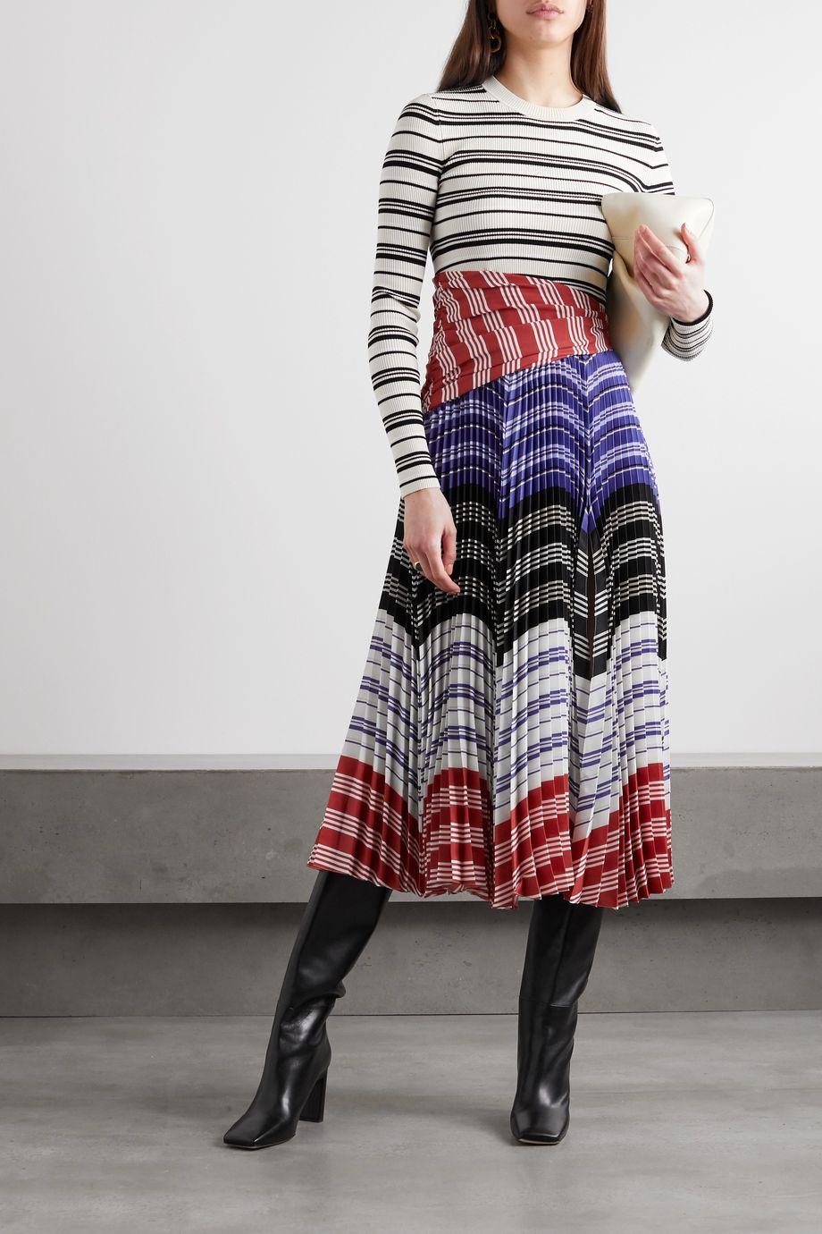 Altuzarra Woodbine striped ribbed-knit and pleated crepe de chine midi dress
